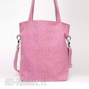 niepowtarzalne torebki plecionka różowa torba a4 z grubej plecionki