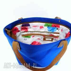 nietuzinkowe torebki niebieska shopper bag