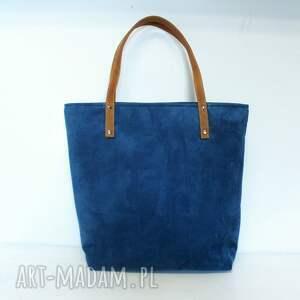 brązowe torebki niebieska shopper bag