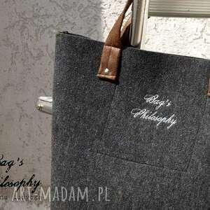 ręczne wykonanie torebki torba shopper bag z kitą w stylu folk!