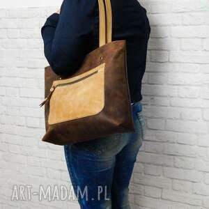 brązowe torebki skóra-naturalna shopper boho torebka skórzana