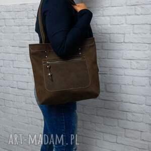 shopper boho torebka skórzana handmade torba skóra brązowa