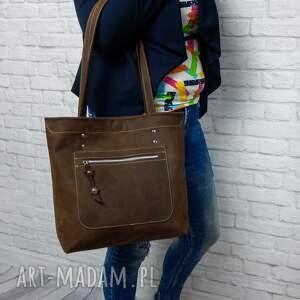 shopper boho torebka skórzana handmade torba skóra