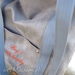 szare miejska szara sportowa torba z zamszu
