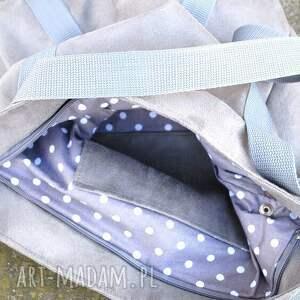 niepowtarzalne torebki torba szara sportowa z zamszu