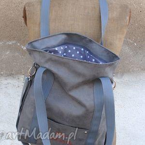 niepowtarzalne torebki z personalizacją szara sportowa torba z zamszu