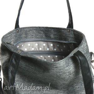 torebki torba szara z grubo plecionej