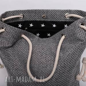 handmade torebki szara torba z grubo plecionej