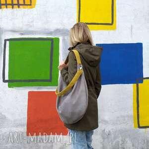 Szara torba worek z musztardowymi paskami - torebka kolorowa