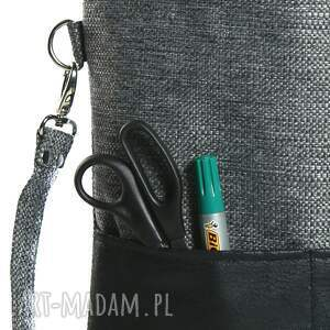 szare torebki torba szara z grubo plecionej