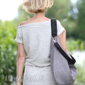 frapujące torebki torebka szara torba z zamszu ekologicznego
