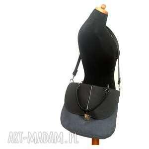 torebki listonoszka szara z retro zapięciem