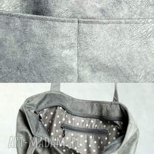 unikalne torebki torba szara zamszowa z kieszonkami