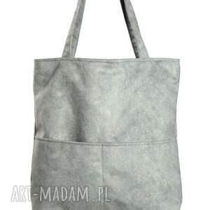 torebki torebka szara zamszowa torba z kieszonkami