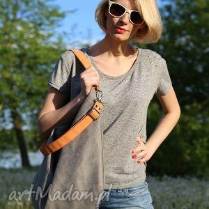 pomarańczowe torebki torba szary worek z ekologicznego zamszu