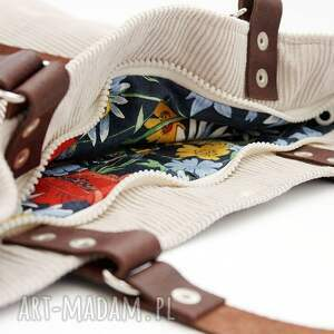 beżowe torebki sztruks