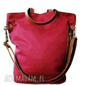 awangardowe torebki shopper torba bordowy zamsz