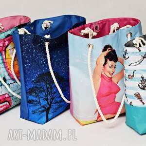 Uszyciuch hand made torebki torba niebo nocą plażowa, duża