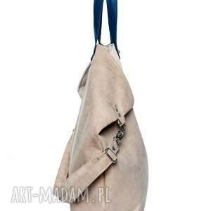 handmade torebki duża torba worek short beige
