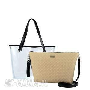 hand-made torebki kobieca torebka delise 2w1 1297 ciemny beż