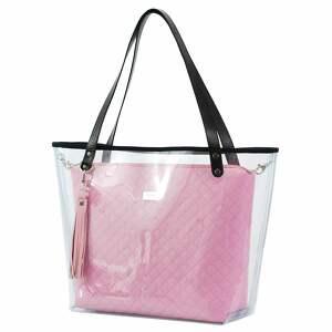efektowne torebki pikowana torebka delise 2w1 1079 pudrowy