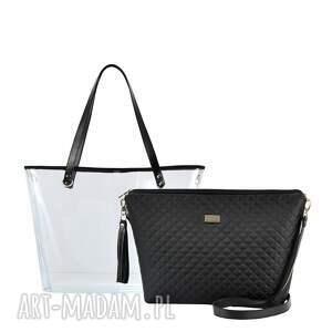 torebki pikowana torebka delise 2w1 1198 czarna