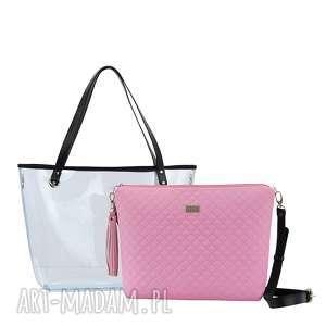 różowe torebki pikowana torebka delise 2w1 1079 pudrowy