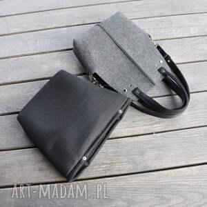 czarne torebki filc torebka filcowa wąska -