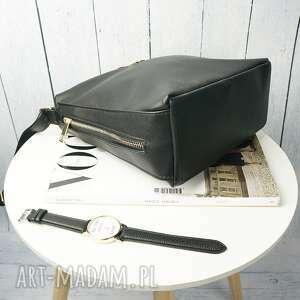 torebka listonoszka manzana zameczki czarna klasyczna - ręcznie robione modna