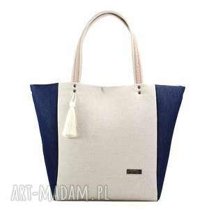 niebieskie torebki len torebka lniana simple 135
