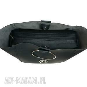 czarne torebki torebka łódeczka manzana 2w1