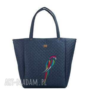 niebieskie torebki pikowana torebka papuga 514
