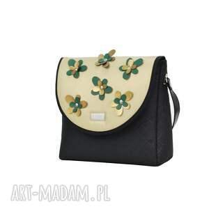 torebki: Torebka puro classic 2305 flower decoration gold - pojemna