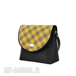modne torebki puro torebka 1262 mustard gray grid