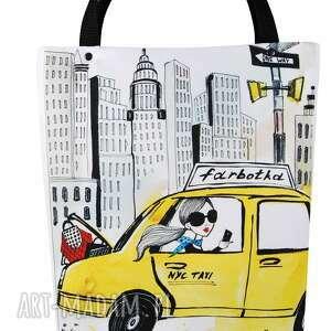 torebki: Torebka shopperka 1306 new york - pojemna grafika