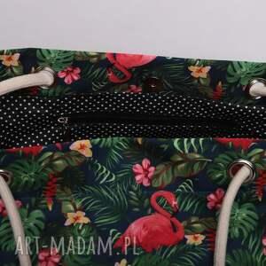 handmade torebki kolorowa torebka worek w kwiaty, flamingi