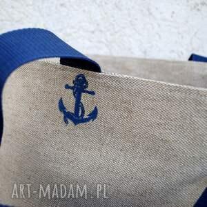 torba torebki niebieskie tote polski len - marine