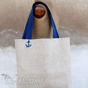 białe torebki lniana tote polski len - marine
