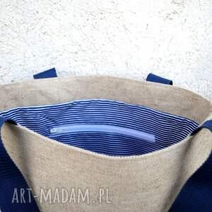 oryginalne torebki marynarska tote polski len - marine
