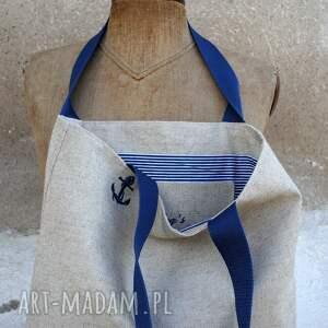 marynarska torebki tote polski len - marine