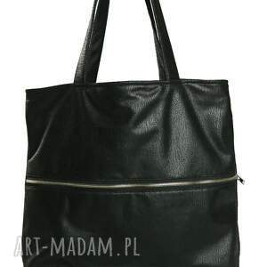 czarne torebki torba tote zipp - black