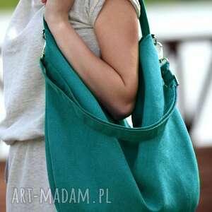 handmade torebki turkusowa torba w kształcie łódki