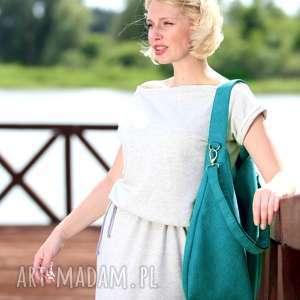 handmade torebki torebka turkusowa torba w kształcie łódki