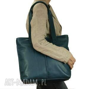 torebka torebki turkusowa torba ze skóry licowej