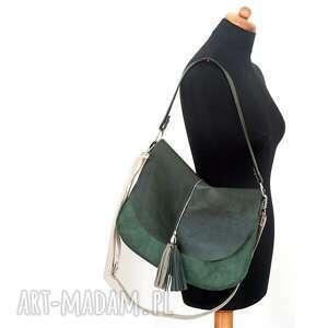 listonoszka torebki zielona plus dwa frędzle