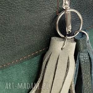 torebki listonoszka zielona plus dwa frędzle