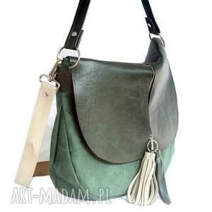 ręcznie zrobione torebki torebka zielona plus dwa frędzle