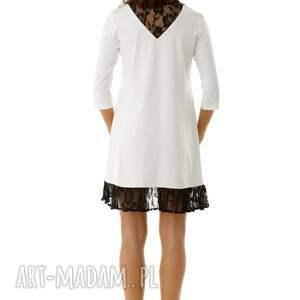 hand made tuniki tunika sukienka oversize z koronką