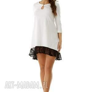 tunika z-falbaną tuniki sukienka oversize z koronką