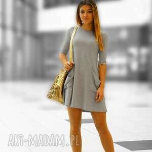 gustowne tuniki sukienkaawełna tunika z dużymi kieszeniami